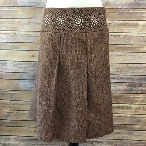 Ann Taylor Loft Herringbone Embroidered Skirt